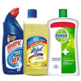 Harpic Toilet Original Cleaner - 1 L with Lizol Floor Cleaner - 975 ml (Citrus) and Dettol Original Liquid Soap Jar - 900 ml