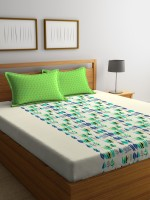 Portico New York 144 TC Cotton Double King Printed Bedsheet(Pack of 1, Green)