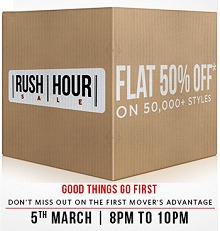 (8PM to 10 PM) Myntra Rush Hour - Flat 50% OFF On 50000+ Products