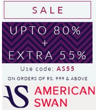 Americanswan Sale : Upto 80% OFF + Extra 55% OFF on Rs.999