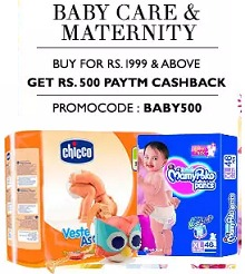 Baby Care and Maternity Upto 50% OFF + Extra Rs.500 Cashback on Rs.1999