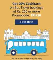 Bus Ticket Booking Flat 20% Cashback on Rs.200 From Paytm.com