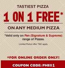 Buy 1 Get 1 Free On Medium Pizza From Pizzahut.co.in