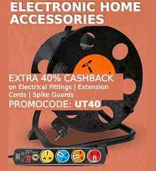 Extensions & Cords Extra 40% Cashback on Rs. 699 From Paytm.com