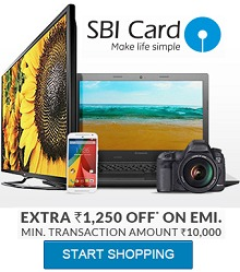Extra Rs.1250 OFF on Rs.10000 SBI Credit Cards on EMI From Flipkart.com