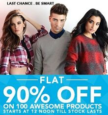 Flat 90% OFF On Clothing, Footwear & More From Jabong.com