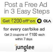 Free Rs.200 Ola Coupons on Posting Ad For Used vehicles From Junglee