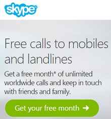 Free Skype Unlimited Calls Worlwide For 1 Month