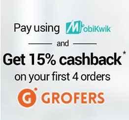 Grofers Get 15% Cashback on Using Mobikwik Wallet