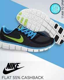 Happy Hours - Nike Footwear Extra 55% Cashback From Paytm.com