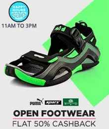 Happy Hours - Open Footwears upto 65% + Extra 35% Cashback From Paytm.com