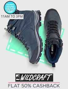 Happy Hours - Wildcraft Shoes Extra 50% Cashback From Paytm.com
