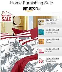 Home Furnishing Sale - Upto 70% OFF Starting Rs.199 From Amazon.in