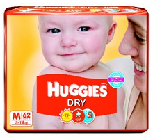 Huggies Dry Diapers Medium Size (62 Count) Rs.560 From Amazon
