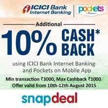 ICICI Internet Banking & Pockets Offer - 10% Cashback on Rs.3000