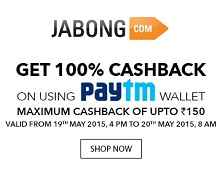 Jabong Extra 100% Cashback Pay with Paytm Wallet (Max. Rs.150)