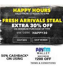 Jabong Happy Hours - Extra 30% OFF + Extra 50% Cashback (Paytm Wallet) on 45k+ Products