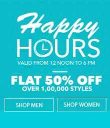 Jabong Happy Hours - Flat 50% OFF on Fashion (12PM - 6PM)