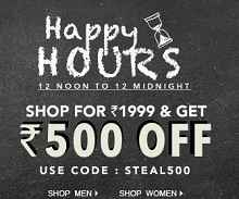 Jabong Happy Hours: Get Rs. 500 OFF on Orders Rs. 1999 & Above