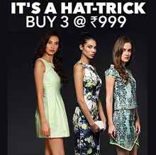 Jabong Hat-trick Sale Buy 3 At Rs.999