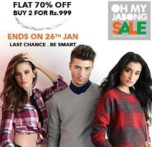 Flat 70% OFF On Clothing, Footwear & More From Jabong.com