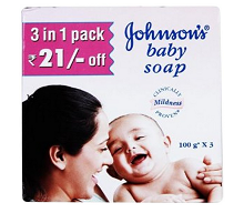 Johnson's Baby Soap 100g (Pack of 3) Rs.69 || 50% OFF From Amazon.in