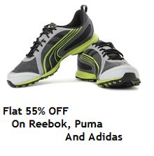 Men Footwear Flat 55% Off On Adidas | Puma | Reebok From Flipkart.com