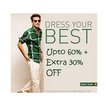 Men's Clothing Upto 60% OFF + Extra 30% OFF From Amazon.in