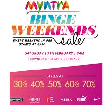 Myntra Binge Weekends - Upto 70% OFF on Clothing, Footwear & Accessories