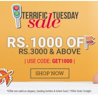 Babyoye Terrific Tuesday Sale - Get Rs.1000 OFF On Order Of Rs.3000 Or More
