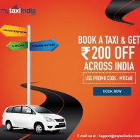 Mytaxiindia - Flat Rs 200 OFF on All Your Taxi Booking