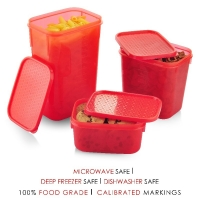 All Time Polka 3 Pcs Container Set - Red Rs.99 From Pepperfry.com