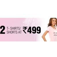 Any 2 T- Shirts/ Shorts Rs.499 From Clovia.com