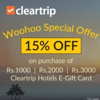 Woohoo Special Offer - 15% Off on Cleartrip Hotels E-gift Cards