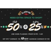 Jabong Flash on Sale - Flat 50% Off + Extra 25% Off on Clothing + Extra 20% Cashback Using Freecharge