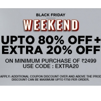 Clothing, Shoes Jewellery & More Upto 80% off + Extra 20% on Rs.2499