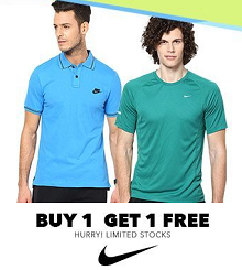 Nike Men's Tees & Polos Buy 1 Get 1 Free Starts Rs. 1204 From Jabong.com