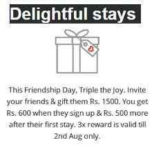 Oyo Rooms Friendship day offer - Sign up & Get Rs.1500 OYO money