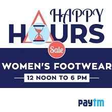 Paytm Happy Hours : Women's Footwear Flat 50% Cash back