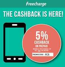 Recharge & Bill Payments Get 5% Cashback on Rs.50 or More From Freecharge.in