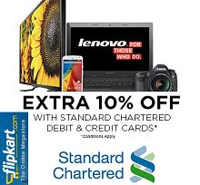 [Standard Chartered Cards] FlipKart 10% Cashback on Purchase of Rs. 10000