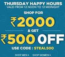Thursday Happy Hours Rs.500 OFF on Rs.2000 At Jabong