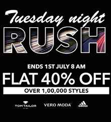 Tuesday Night Rush Flat 40% OFF On Clothing, Footwears & Accessories