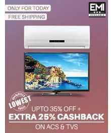 TVs, Coolers, ACs, Microwave Ovens & Printers Extra 25% Cashback